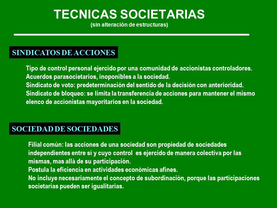 TECNICAS SOCIETARIAS (sin alteración de estructuras) SINDICATOS DE ACCIONES Tipo de control personal ejercido por una comunidad de accionistas controladores.