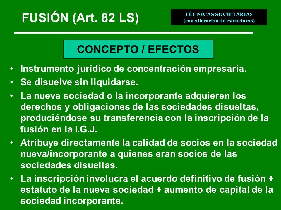 FUSIÓN (Art. 82 LS) Instrumento jurídico de concentración empresaria.