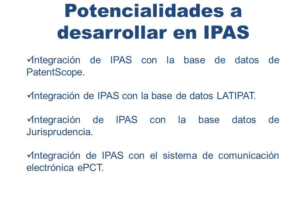 Potencialidades a desarrollar en IPAS Integración de IPAS con la base de datos de PatentScope.