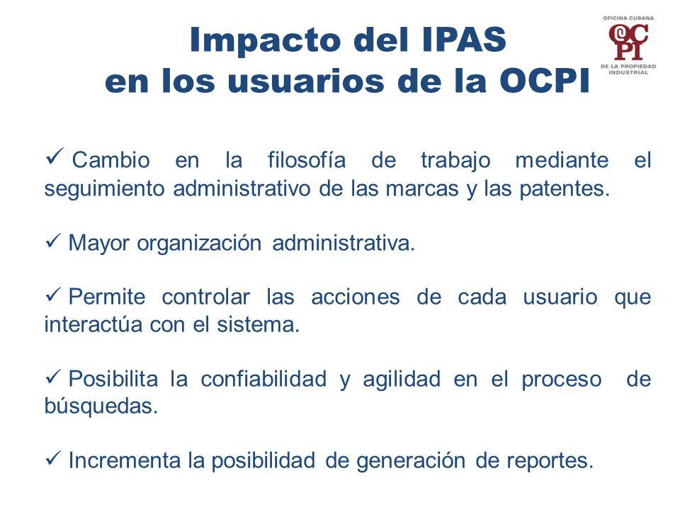Impacto del IPAS en los usuarios de la OCPI Cambio en la filosofía de trabajo mediante el seguimiento administrativo de las marcas y las patentes.