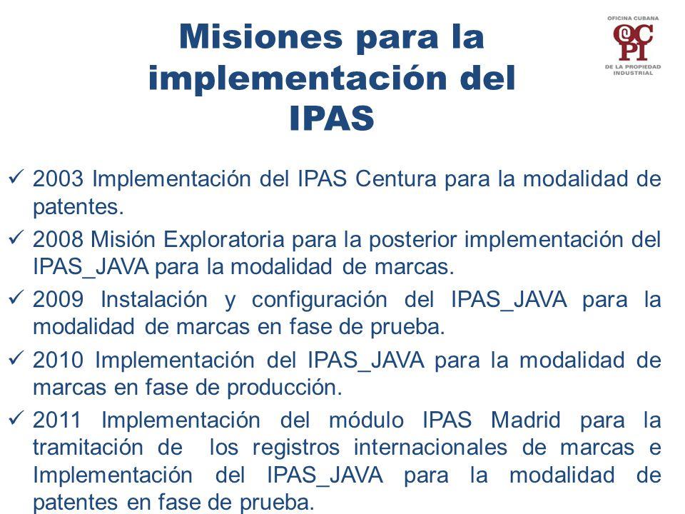 Misiones para la implementación del IPAS 2003 Implementación del IPAS Centura para la modalidad de patentes.