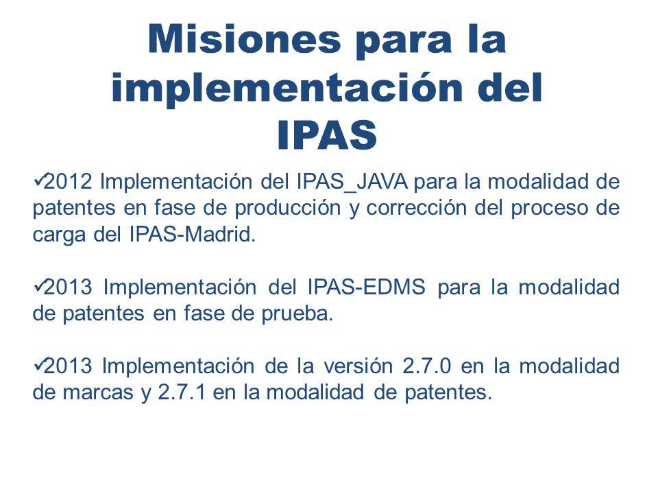 Misiones para la implementación del IPAS 2012 Implementación del IPAS_JAVA para la modalidad de patentes en fase de producción y corrección del proceso de carga del IPAS-Madrid.