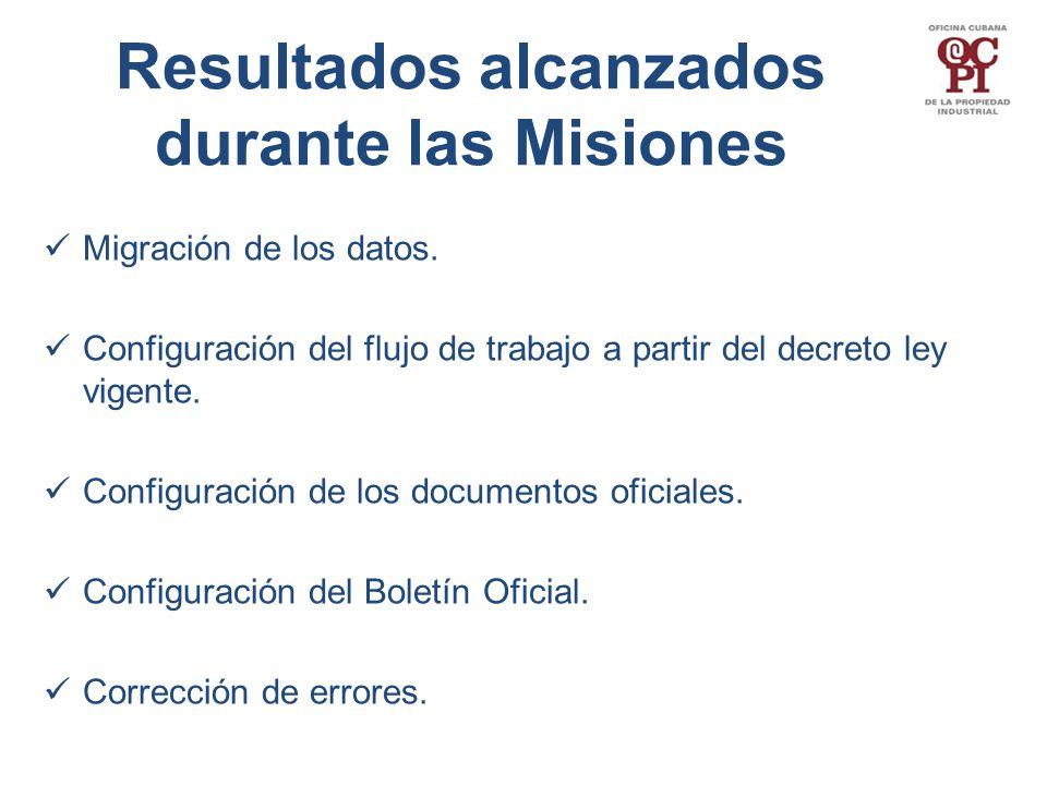 Resultados alcanzados durante las Misiones Migración de los datos.