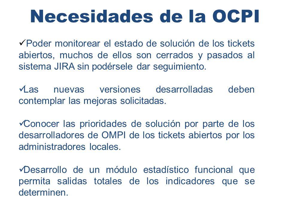 Necesidades de la OCPI Poder monitorear el estado de solución de los tickets abiertos, muchos de ellos son cerrados y pasados al sistema JIRA sin podérsele dar seguimiento.