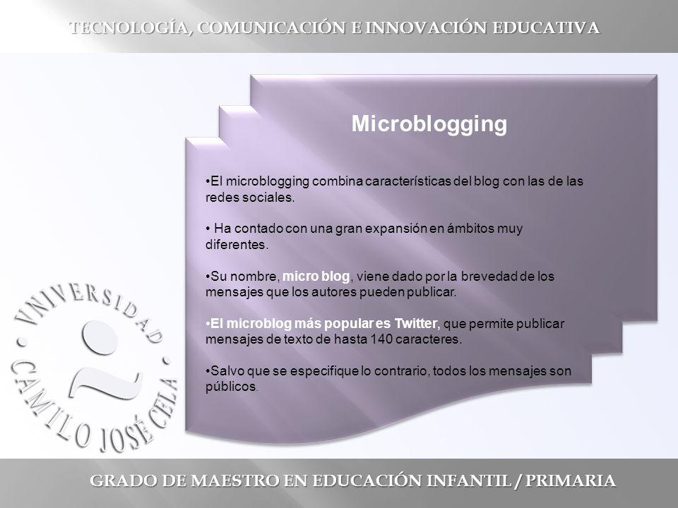 GRADO DE MAESTRO EN EDUCACIÓN INFANTIL / PRIMARIA TECNOLOGÍA, COMUNICACIÓN E INNOVACIÓN EDUCATIVA El microblogging combina características del blog con las de las redes sociales.