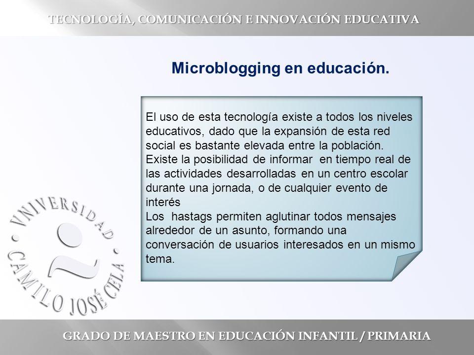 GRADO DE MAESTRO EN EDUCACIÓN INFANTIL / PRIMARIA TECNOLOGÍA, COMUNICACIÓN E INNOVACIÓN EDUCATIVA Microblogging en educación.