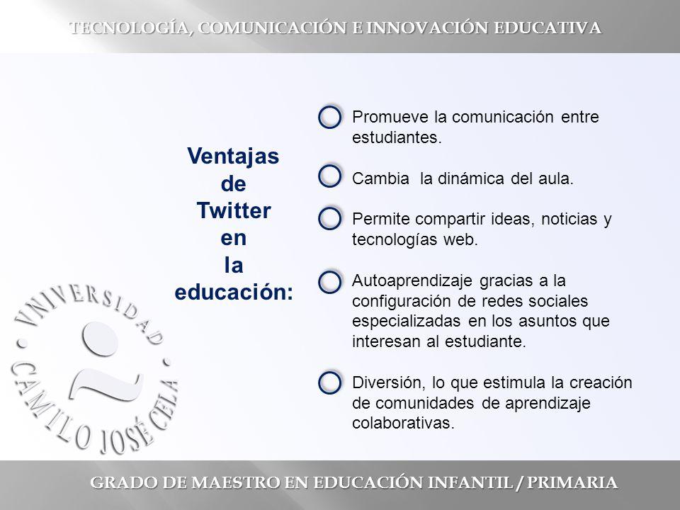 GRADO DE MAESTRO EN EDUCACIÓN INFANTIL / PRIMARIA TECNOLOGÍA, COMUNICACIÓN E INNOVACIÓN EDUCATIVA Promueve la comunicación entre estudiantes.
