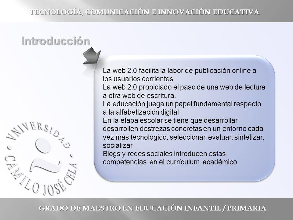 GRADO DE MAESTRO EN EDUCACIÓN INFANTIL / PRIMARIA Introducción La web 2.0 facilita la labor de publicación online a los usuarios corrientes La web 2.0 propiciado el paso de una web de lectura a otra web de escritura.