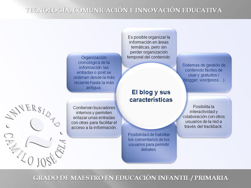 GRADO DE MAESTRO EN EDUCACIÓN INFANTIL / PRIMARIA TECNOLOGÍA, COMUNICACIÓN E INNOVACIÓN EDUCATIVA Organización cronológica de la información: las entradas o post se ordenan desde la más reciente hasta la más antigua.