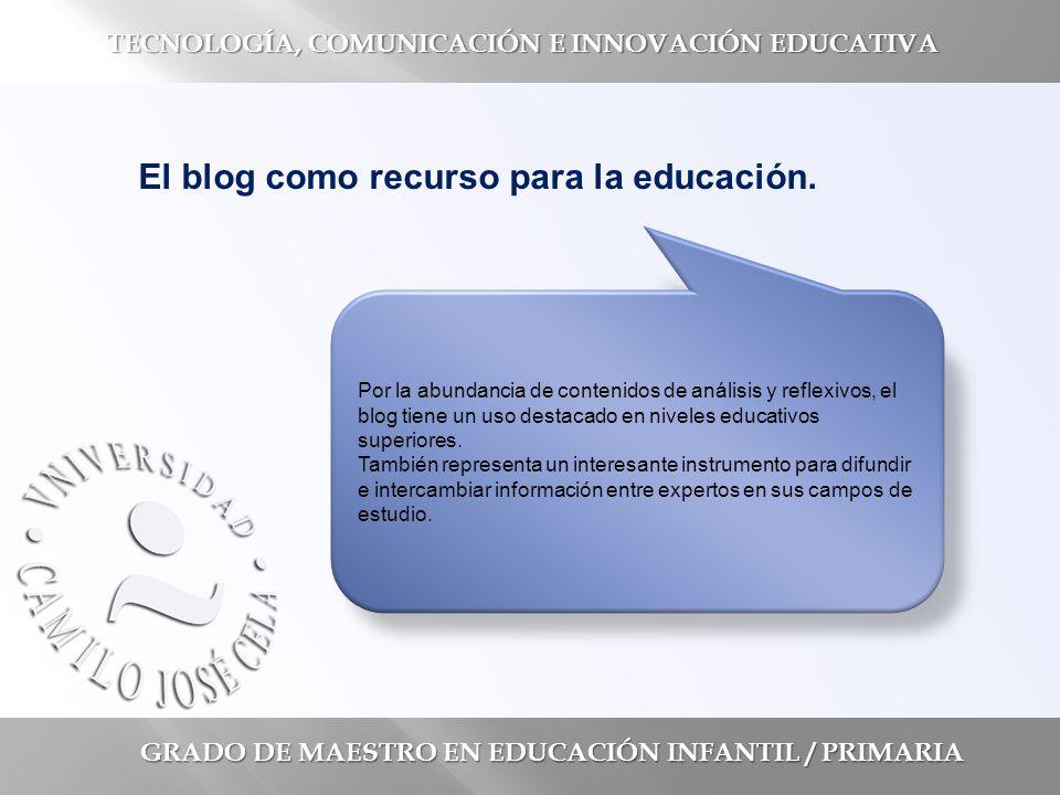 GRADO DE MAESTRO EN EDUCACIÓN INFANTIL / PRIMARIA TECNOLOGÍA, COMUNICACIÓN E INNOVACIÓN EDUCATIVA El blog como recurso para la educación.