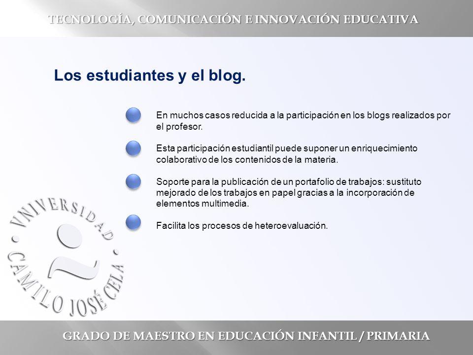 GRADO DE MAESTRO EN EDUCACIÓN INFANTIL / PRIMARIA TECNOLOGÍA, COMUNICACIÓN E INNOVACIÓN EDUCATIVA Los estudiantes y el blog.