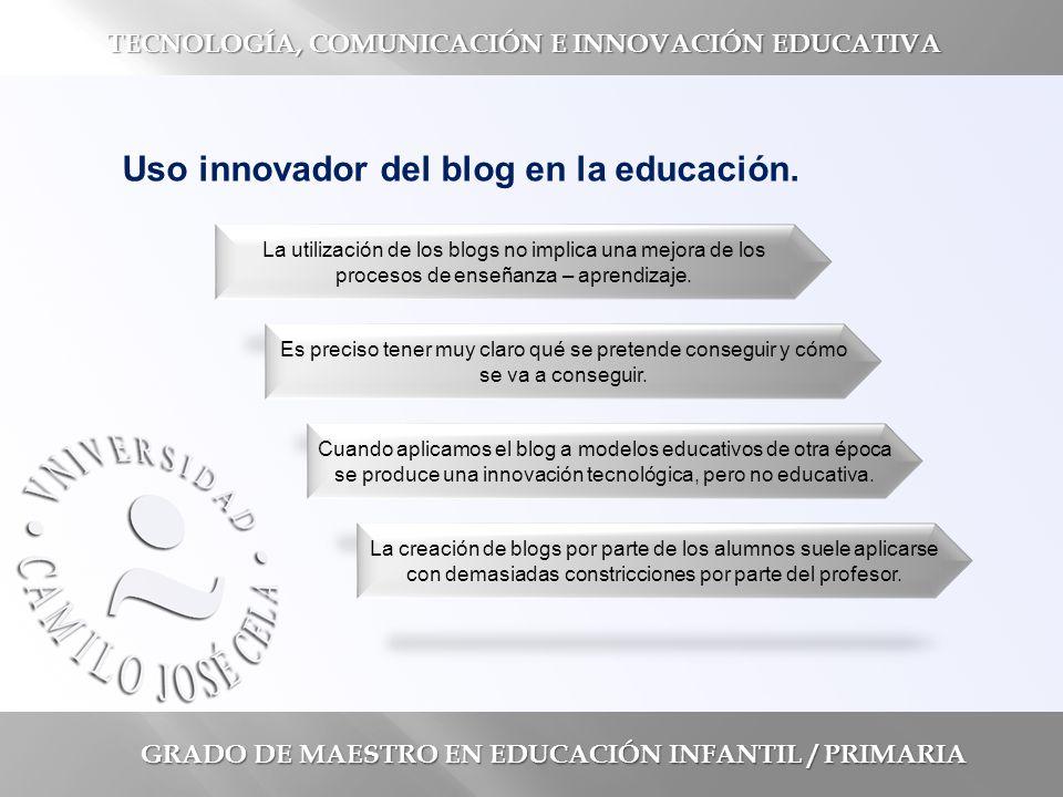 GRADO DE MAESTRO EN EDUCACIÓN INFANTIL / PRIMARIA TECNOLOGÍA, COMUNICACIÓN E INNOVACIÓN EDUCATIVA Uso innovador del blog en la educación.