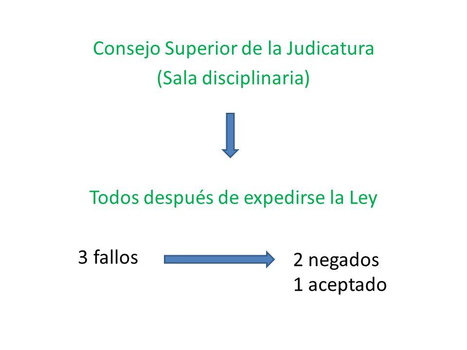 Consejo Superior de la Judicatura (Sala disciplinaria) Todos después de expedirse la Ley 3 fallos 2 negados 1 aceptado