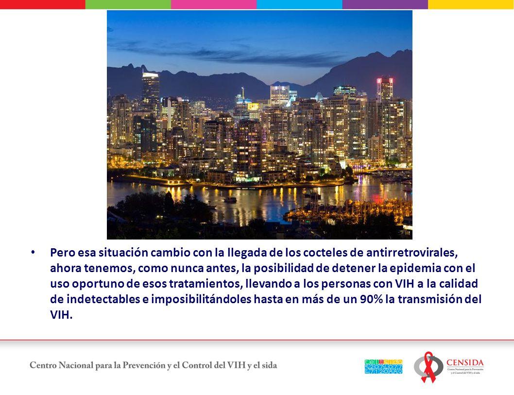 Pero esa situación cambio con la llegada de los cocteles de antirretrovirales, ahora tenemos, como nunca antes, la posibilidad de detener la epidemia con el uso oportuno de esos tratamientos, llevando a los personas con VIH a la calidad de indetectables e imposibilitándoles hasta en más de un 90% la transmisión del VIH.