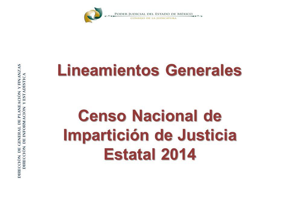 Censo Nacional de Impartición de Justicia Estatal 2014 Lineamientos Generales DIRECCIÓN DE GENERAL DE PLANEACIÓN Y FINANZAS DIRECCIÓN DE INFORMACIÓN Y ESTADÍSTICA