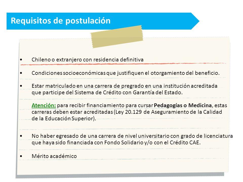 Requisitos de postulación Chileno o extranjero con residencia definitiva Condiciones socioeconómicas que justifiquen el otorgamiento del beneficio.