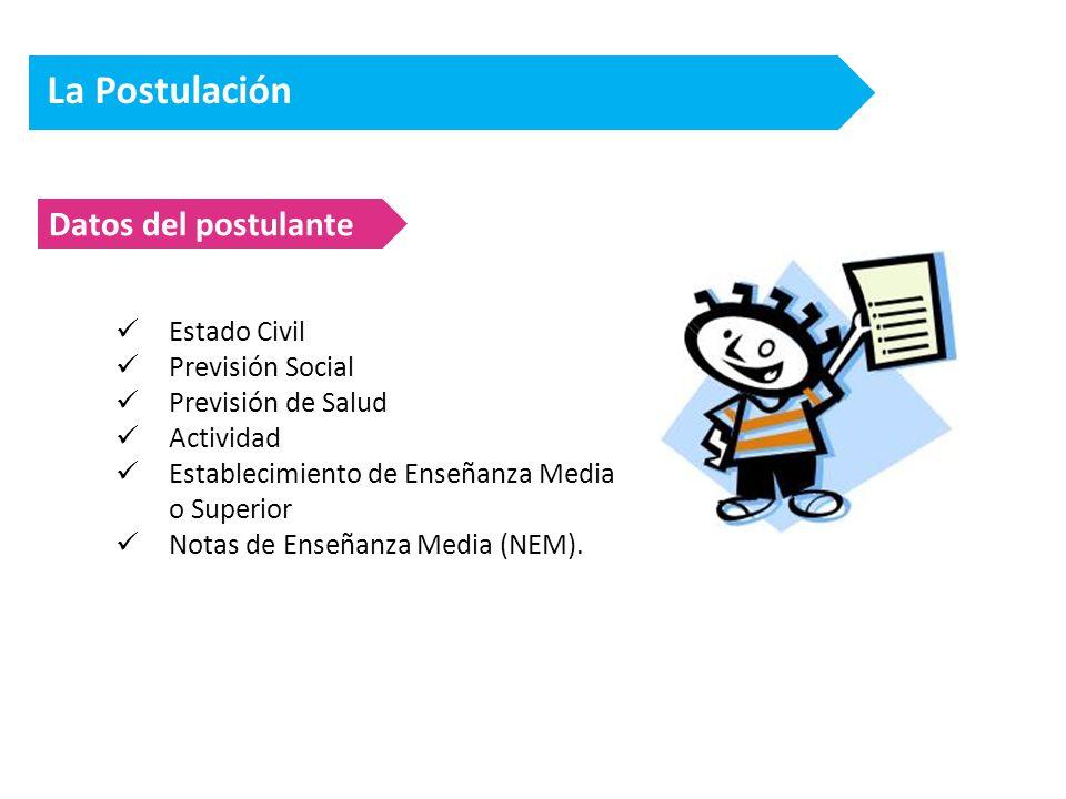 La Postulación Datos del postulante Estado Civil Previsión Social Previsión de Salud Actividad Establecimiento de Enseñanza Media o Superior Notas de Enseñanza Media (NEM).