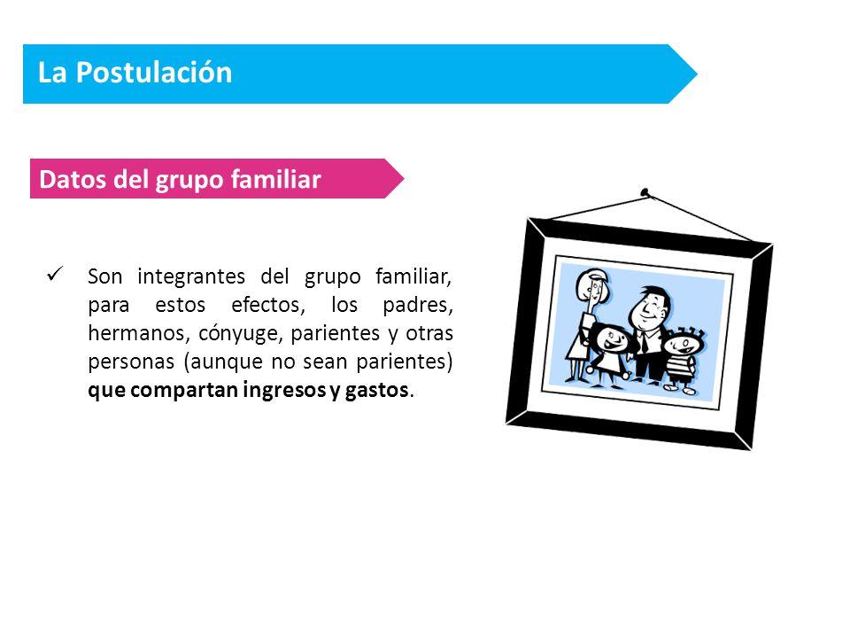 La Postulación Datos del grupo familiar Son integrantes del grupo familiar, para estos efectos, los padres, hermanos, cónyuge, parientes y otras personas (aunque no sean parientes) que compartan ingresos y gastos.