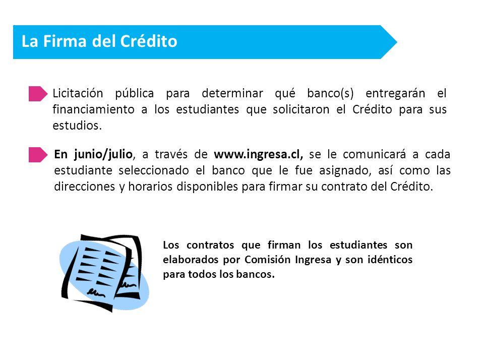 La Firma del Crédito Licitación pública para determinar qué banco(s) entregarán el financiamiento a los estudiantes que solicitaron el Crédito para sus estudios.