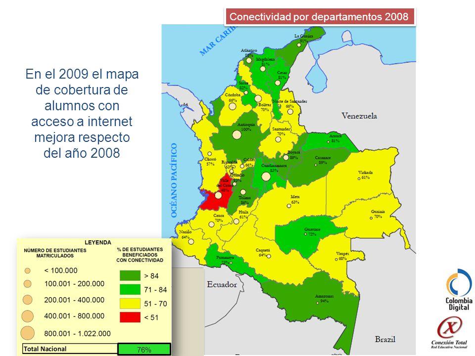 En el 2009 el mapa de cobertura de alumnos con acceso a internet mejora respecto del año 2008 Conectividad por departamentos 2008 76%