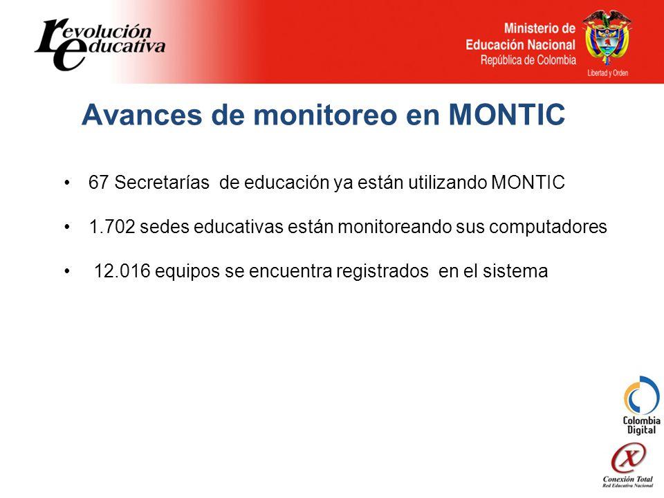 Avances de monitoreo en MONTIC 67 Secretarías de educación ya están utilizando MONTIC 1.702 sedes educativas están monitoreando sus computadores 12.016 equipos se encuentra registrados en el sistema