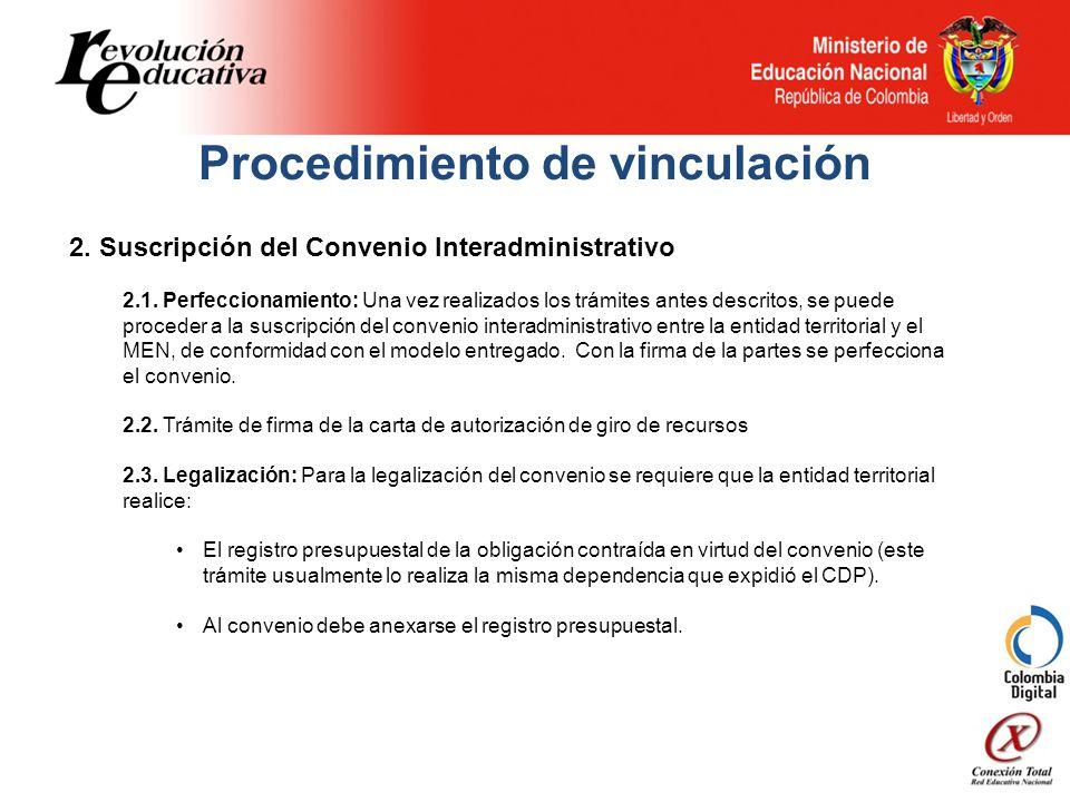 Procedimiento de vinculación 2. Suscripción del Convenio Interadministrativo 2.1.