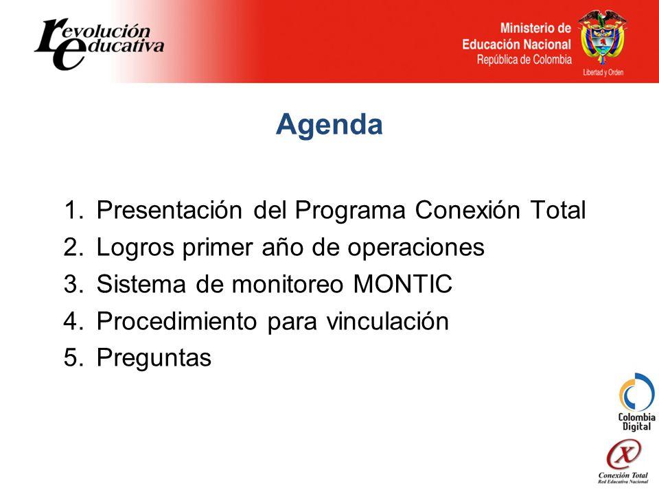 Agenda 1.Presentación del Programa Conexión Total 2.Logros primer año de operaciones 3.Sistema de monitoreo MONTIC 4.Procedimiento para vinculación 5.Preguntas