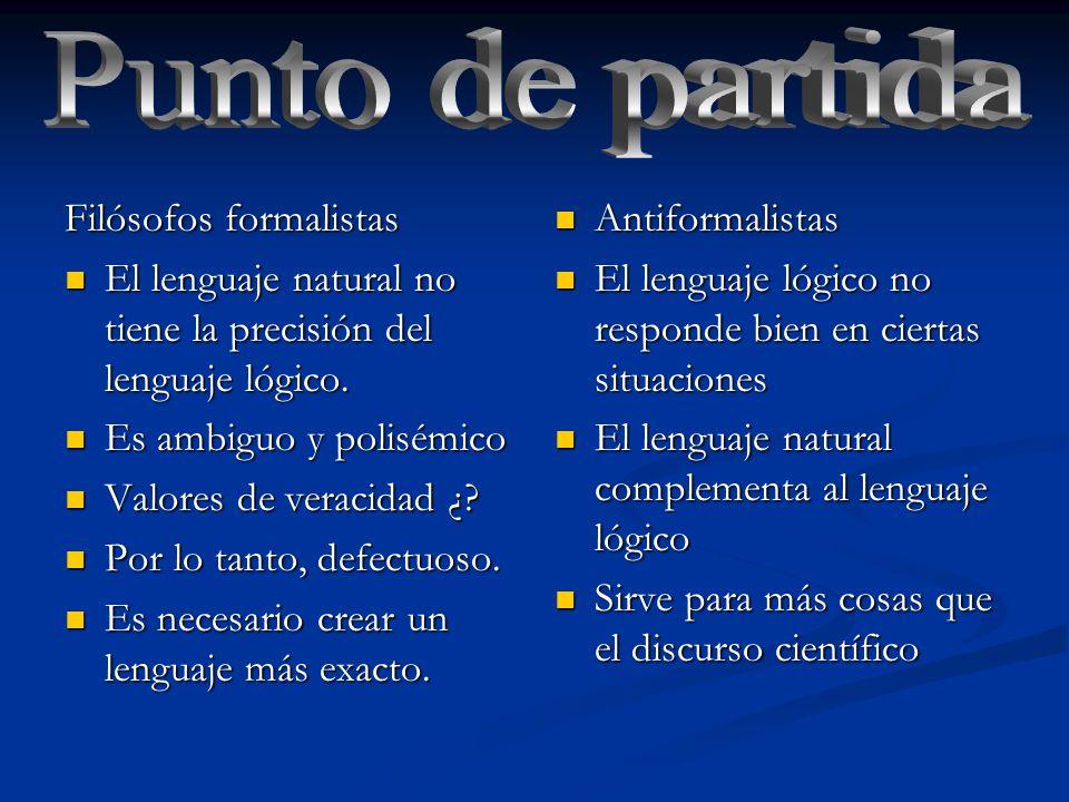 Filósofos formalistas El lenguaje natural no tiene la precisión del lenguaje lógico.