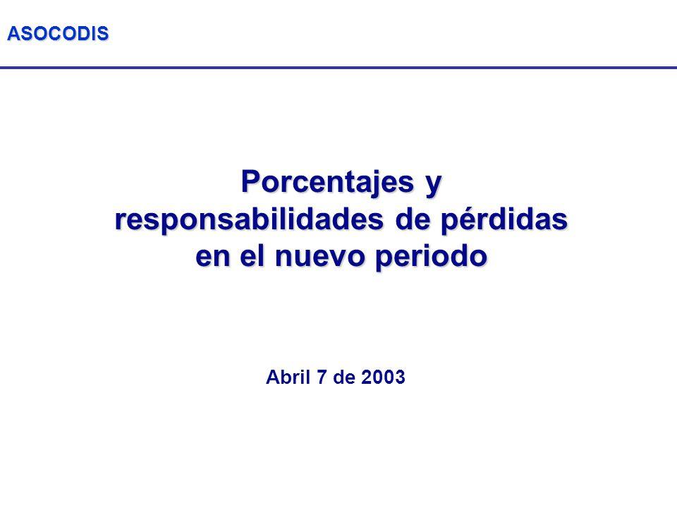 ASOCODIS Porcentajes y responsabilidades de pérdidas en el nuevo periodo Abril 7 de 2003