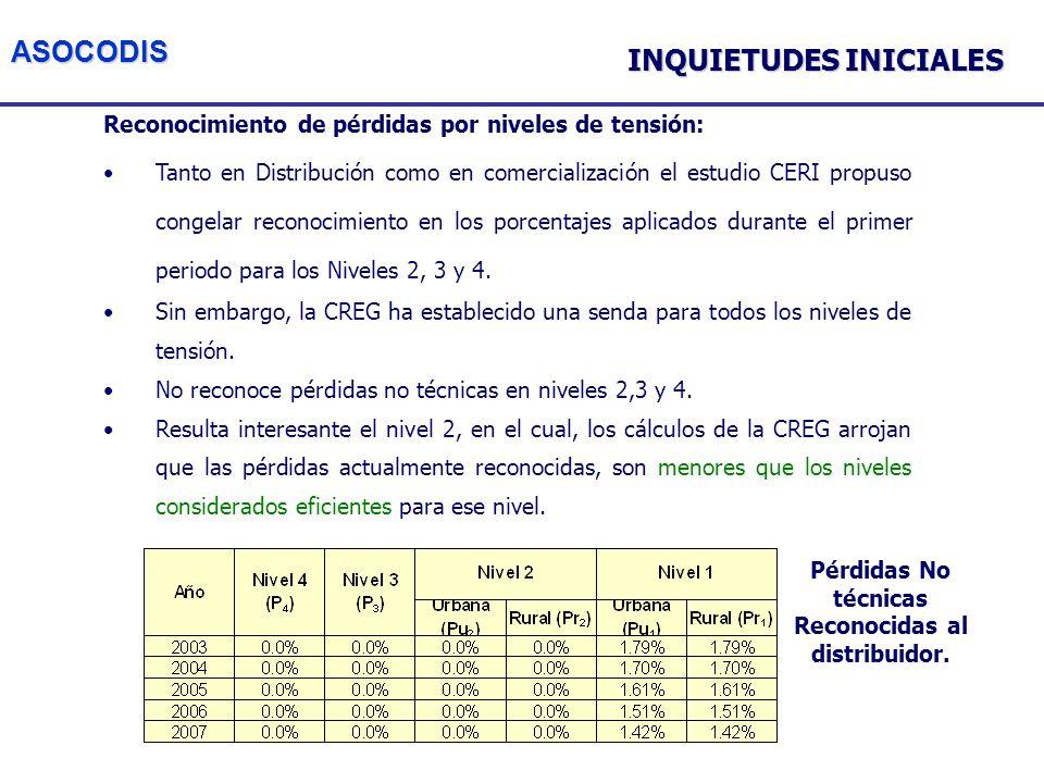 ASOCODIS Reconocimiento de pérdidas por niveles de tensión: Tanto en Distribución como en comercialización el estudio CERI propuso congelar reconocimiento en los porcentajes aplicados durante el primer periodo para los Niveles 2, 3 y 4.