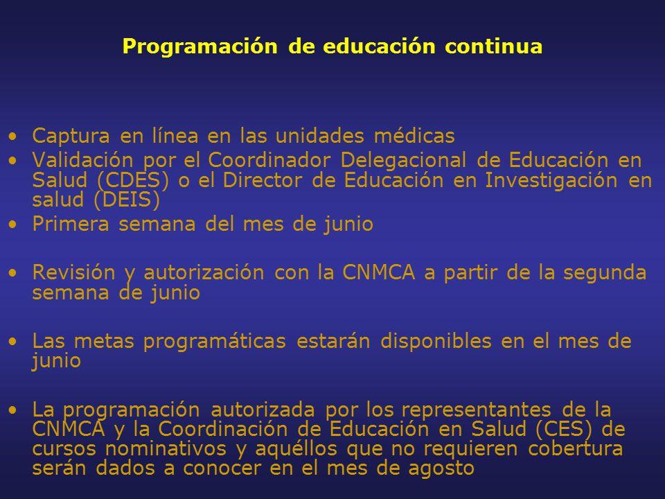 Programación de educación continua Captura en línea en las unidades médicas Validación por el Coordinador Delegacional de Educación en Salud (CDES) o el Director de Educación en Investigación en salud (DEIS) Primera semana del mes de junio Revisión y autorización con la CNMCA a partir de la segunda semana de junio Las metas programáticas estarán disponibles en el mes de junio La programación autorizada por los representantes de la CNMCA y la Coordinación de Educación en Salud (CES) de cursos nominativos y aquéllos que no requieren cobertura serán dados a conocer en el mes de agosto