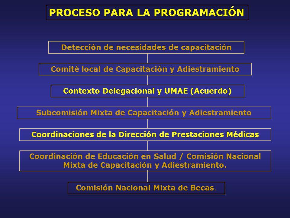 Detección de necesidades de capacitación Comité local de Capacitación y Adiestramiento Contexto Delegacional y UMAE (Acuerdo) Subcomisión Mixta de Capacitación y Adiestramiento Coordinación de Educación en Salud / Comisión Nacional Mixta de Capacitación y Adiestramiento.