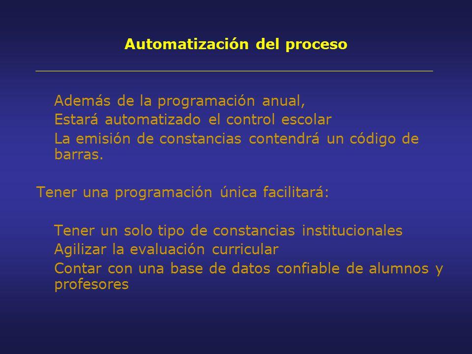 Además de la programación anual, Estará automatizado el control escolar La emisión de constancias contendrá un código de barras.