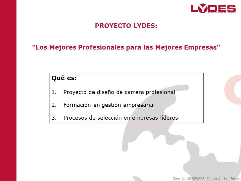 PROYECTO LYDES: Los Mejores Profesionales para las Mejores Empresas Qué es: 1.Proyecto de diseño de carrera profesional 2.Formación en gestión empresarial 3.Procesos de selección en empresas líderes
