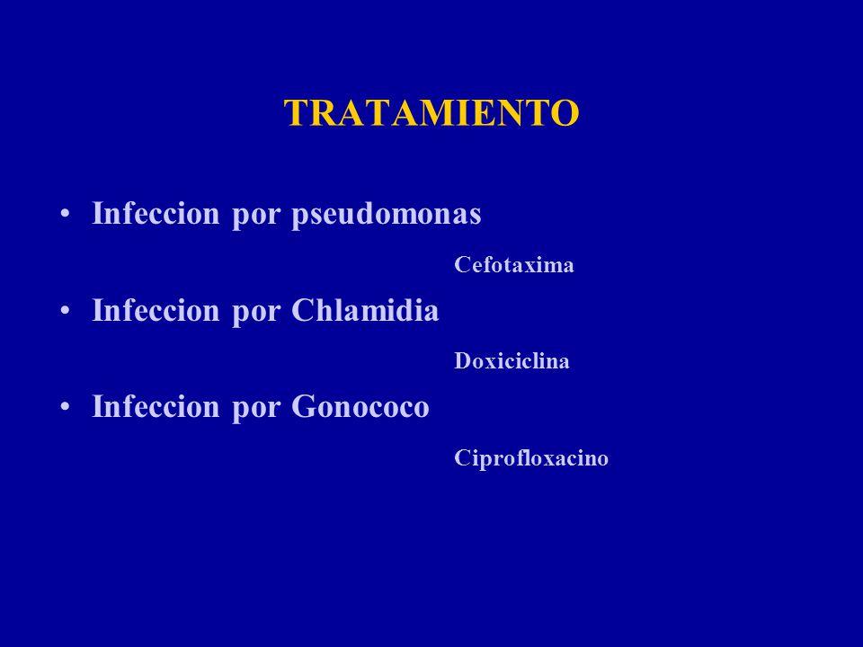 TRATAMIENTO Infeccion por pseudomonas Cefotaxima Infeccion por Chlamidia Doxiciclina Infeccion por Gonococo Ciprofloxacino