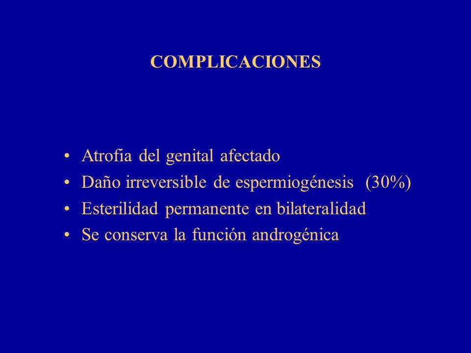 COMPLICACIONES Atrofia del genital afectado Daño irreversible de espermiogénesis (30%) Esterilidad permanente en bilateralidad Se conserva la función