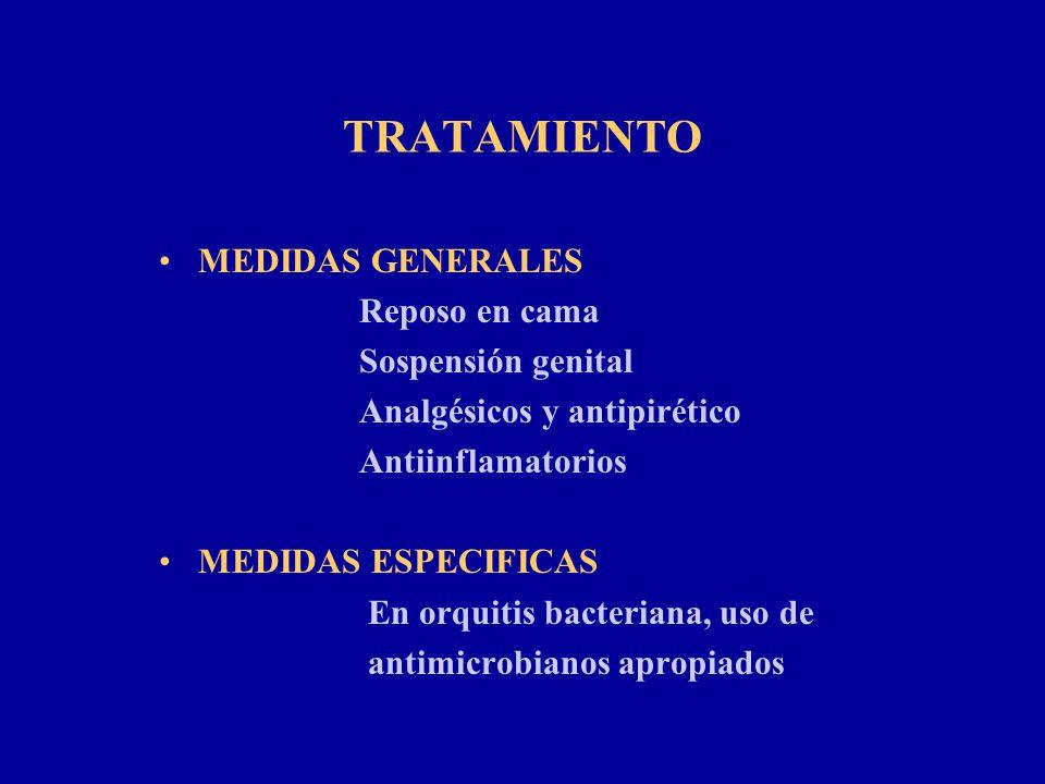 TRATAMIENTO MEDIDAS GENERALES Reposo en cama Sospensión genital Analgésicos y antipirético Antiinflamatorios MEDIDAS ESPECIFICAS En orquitis bacterian
