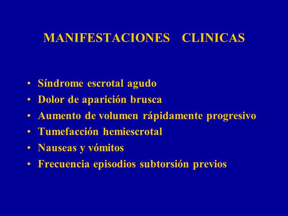 MANIFESTACIONES CLINICAS Síndrome escrotal agudo Dolor de aparición brusca Aumento de volumen rápidamente progresivo Tumefacción hemiescrotal Nauseas