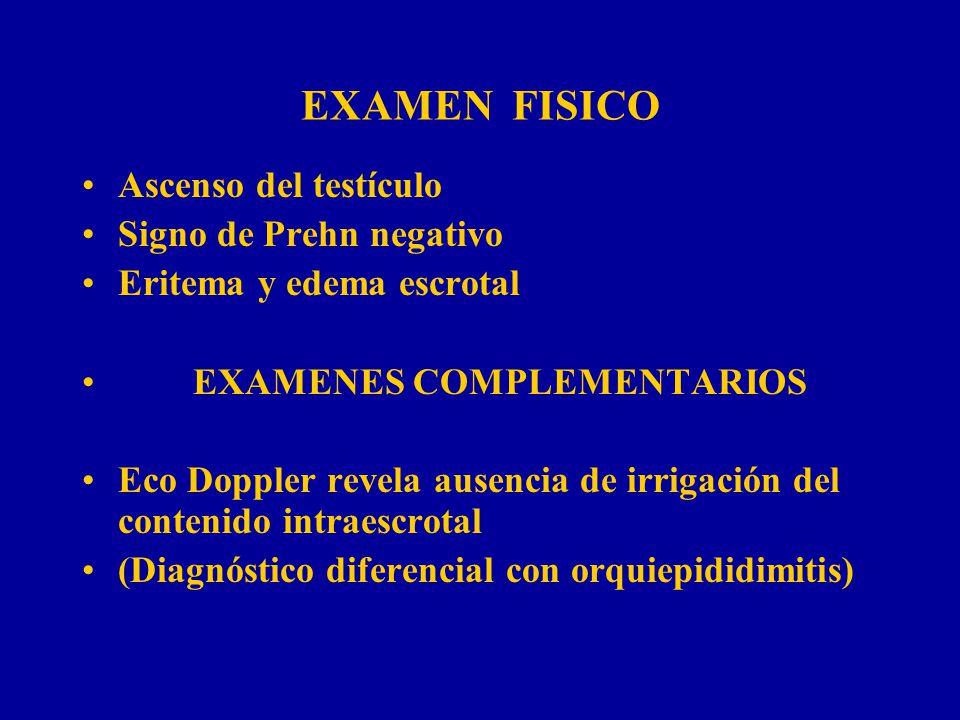 EXAMEN FISICO Ascenso del testículo Signo de Prehn negativo Eritema y edema escrotal EXAMENES COMPLEMENTARIOS Eco Doppler revela ausencia de irrigació