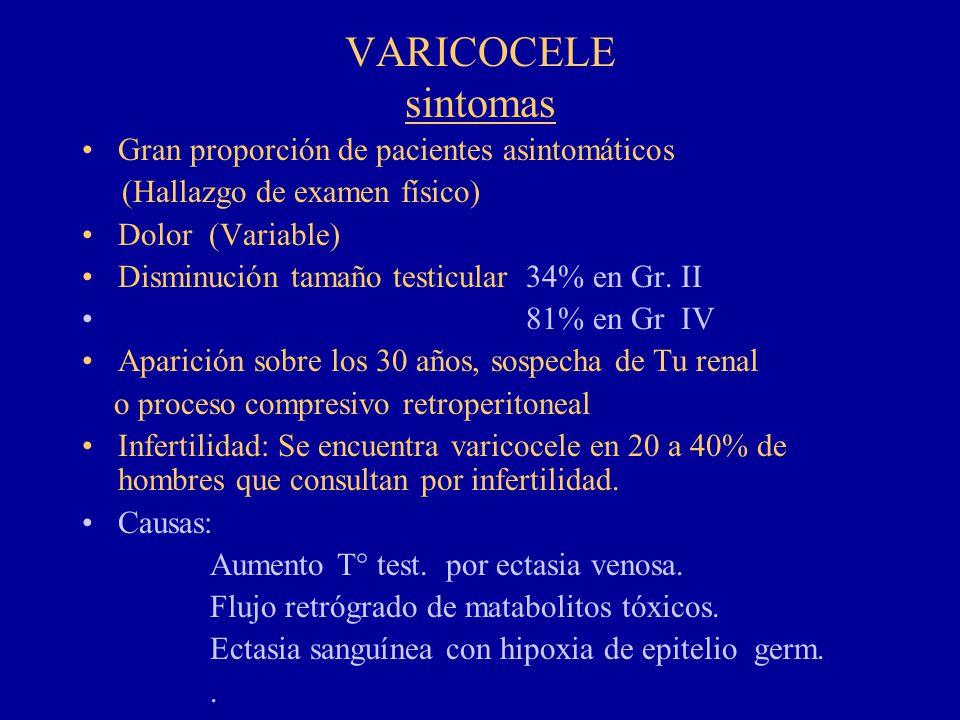 VARICOCELE sintomas Gran proporción de pacientes asintomáticos (Hallazgo de examen físico) Dolor (Variable) Disminución tamaño testicular 34% en Gr. I