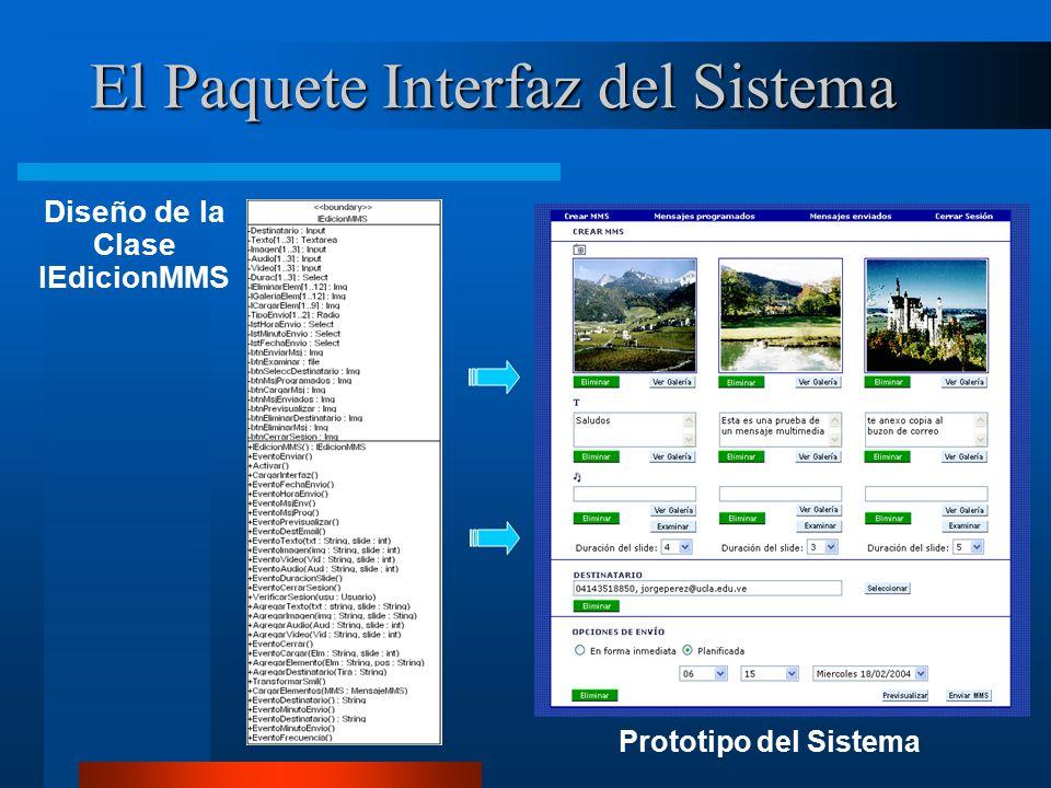 El Paquete Interfaz del Sistema Diseño de la Clase IEdicionMMS Prototipo del Sistema