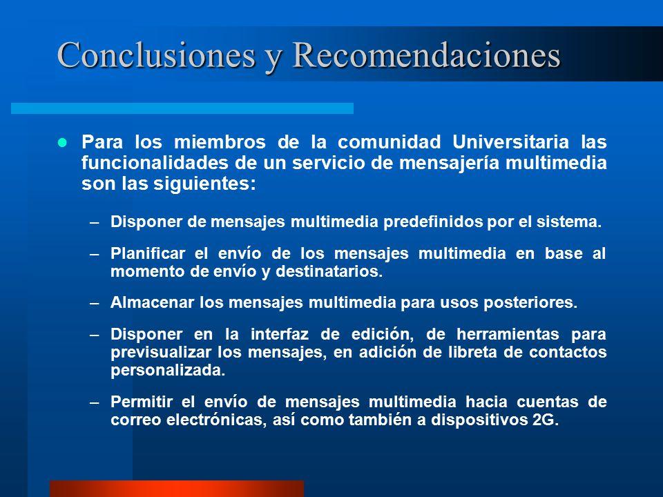 Conclusiones y Recomendaciones Para los miembros de la comunidad Universitaria las funcionalidades de un servicio de mensajería multimedia son las siguientes: –Disponer de mensajes multimedia predefinidos por el sistema.
