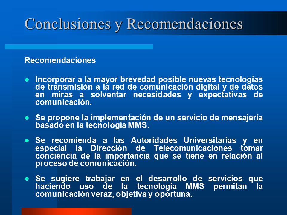 Conclusiones y Recomendaciones Recomendaciones Incorporar a la mayor brevedad posible nuevas tecnologías de transmisión a la red de comunicación digital y de datos en miras a solventar necesidades y expectativas de comunicación.