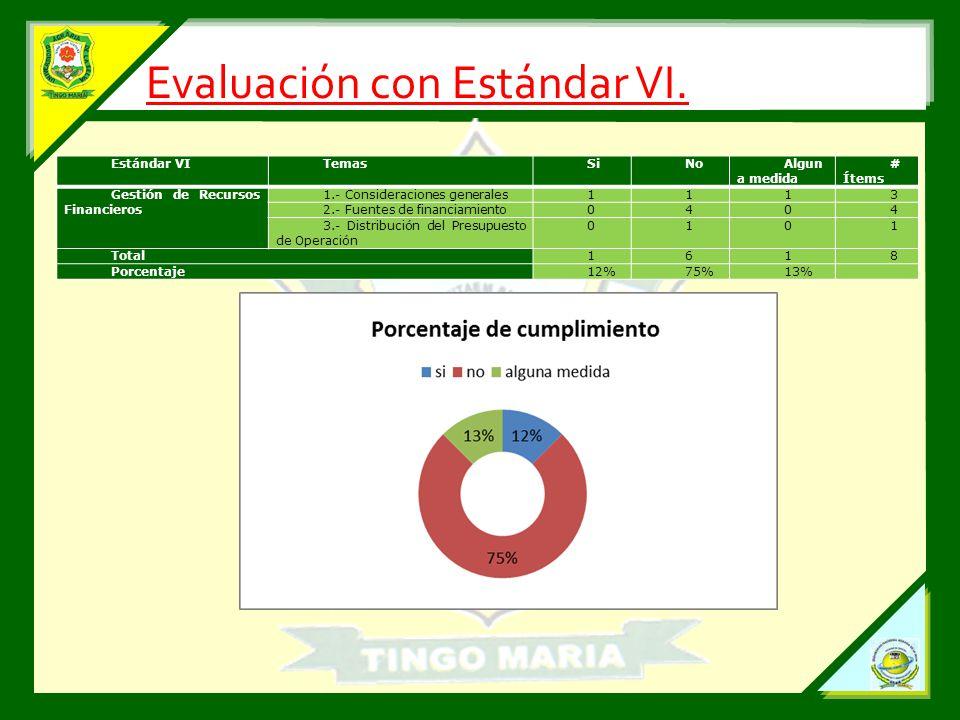 Evaluación con Estándar VI.