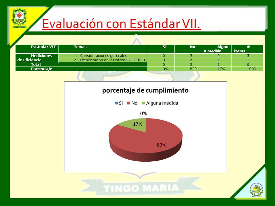 Evaluación con Estándar VII.