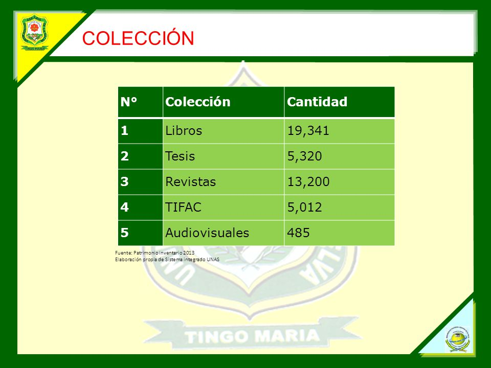COLECCIÓN N°ColecciónCantidad 1Libros19,341 2Tesis5,320 3Revistas13,200 4TIFAC5,012 5Audiovisuales485 Fuente: Patrimonio inventario 2013 Elaboración propia de Sistema integrado UNAS