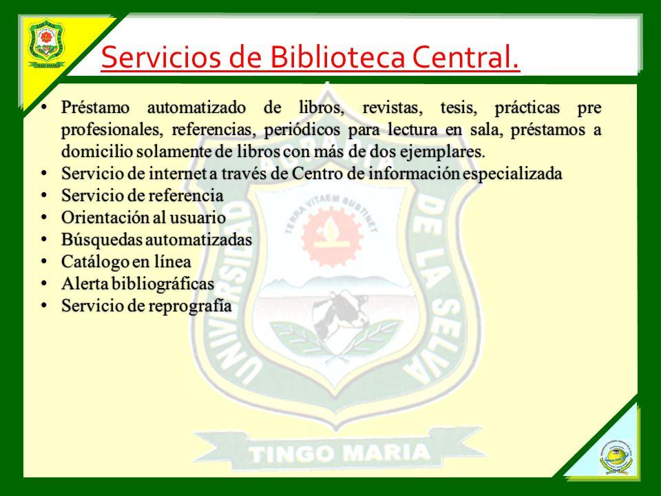 Servicios de Biblioteca Central.