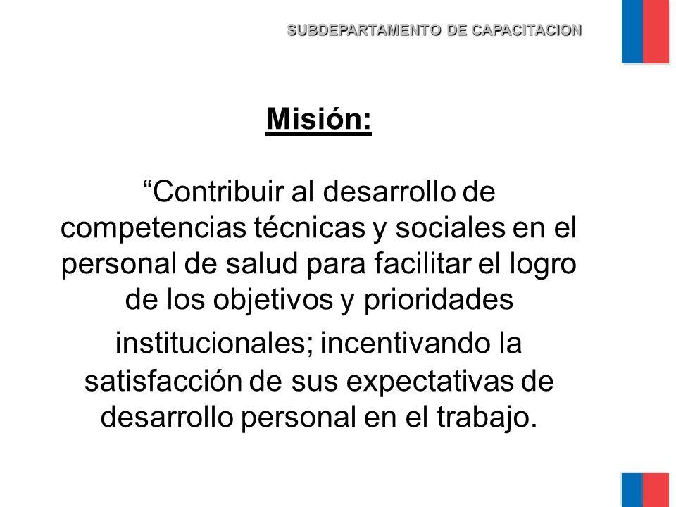 Misión: Contribuir al desarrollo de competencias técnicas y sociales en el personal de salud para facilitar el logro de los objetivos y prioridades institucionales; incentivando la satisfacción de sus expectativas de desarrollo personal en el trabajo.