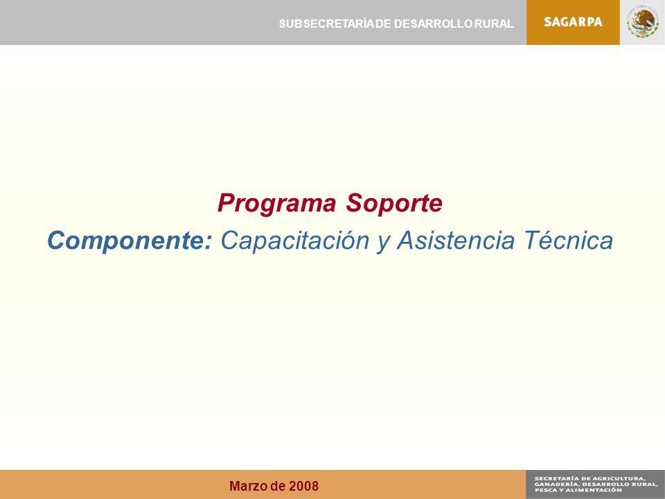 Programa Soporte Componente: Capacitación y Asistencia Técnica SUBSECRETARÍA DE DESARROLLO RURAL Marzo de 2008