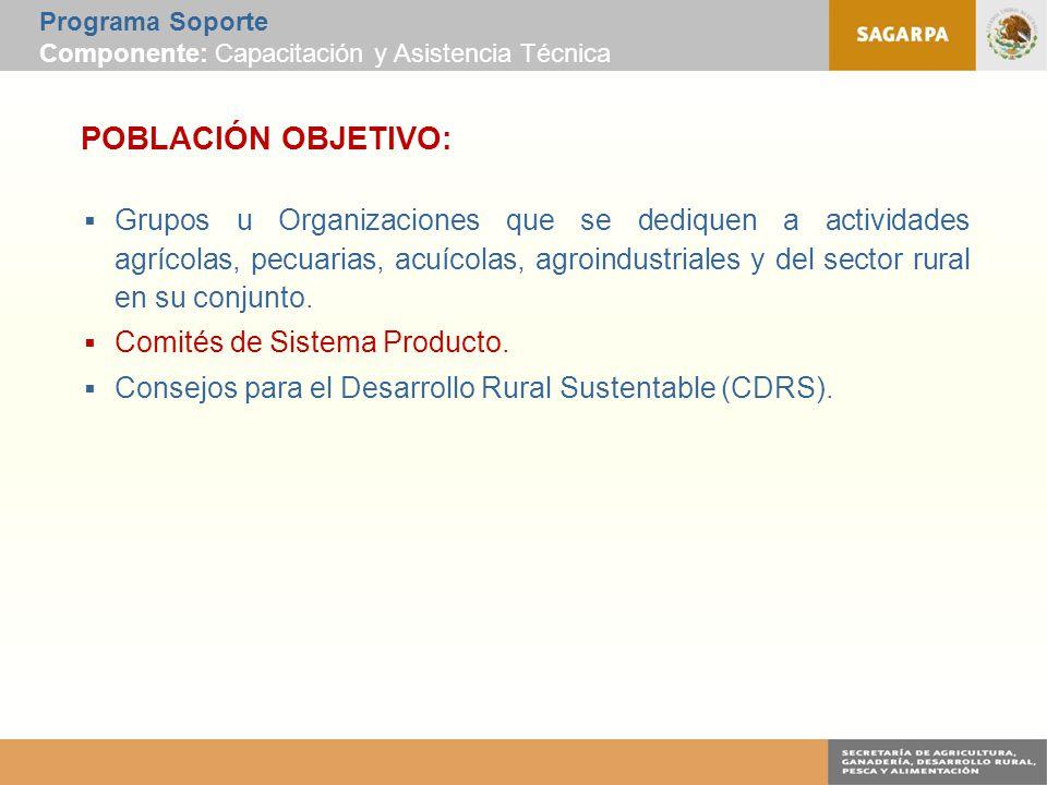 Programa Soporte Componente: Capacitación y Asistencia Técnica POBLACIÓN OBJETIVO:  Grupos u Organizaciones que se dediquen a actividades agrícolas, pecuarias, acuícolas, agroindustriales y del sector rural en su conjunto.